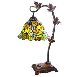 "23""H Stained Glass Floral Leaf Lamp"