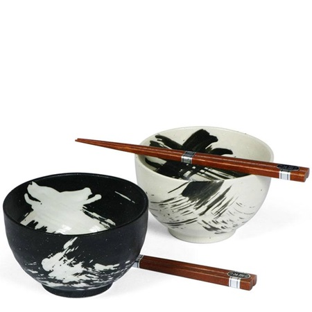 "Black & White Brush Stroke 5"" Bowl For Two Set"