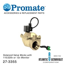 "Solenoid: 1-1/2"" 12v / 2-230psi / Brass / Lead Free / NSF for Digital GUARDIAN™ UV Monitors"