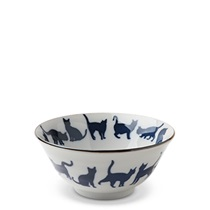 "Blue & White Cat Parade 5.75"" Bowl"