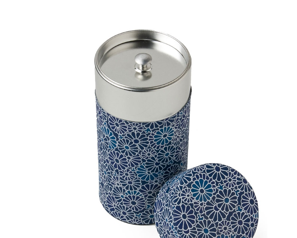Blue Mums Tea Canister