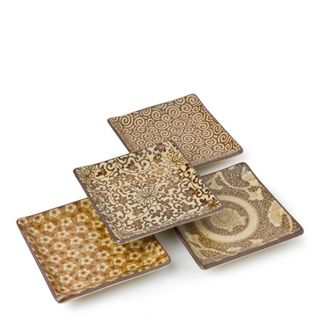 "Sepia 5"" Sq. Plate Set"