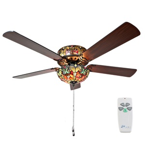 "52""W Tiffany Style Halston Ceiling Fan"