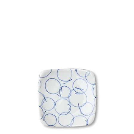 "Blue & White Circles 3.5"" Plate"