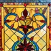 "24""H Tiffany Style Stained Glass Fiery Hearts and Flowers Window Panel"