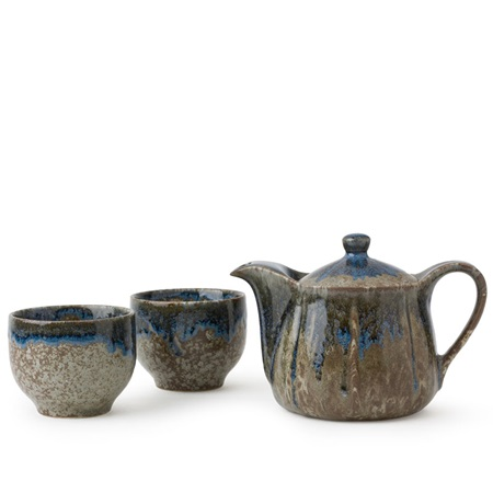 Brown & Blue Glaze Tea Set