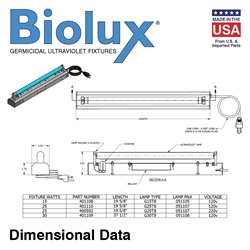 Biolux 15, 25, 30 watt Dimensional Data