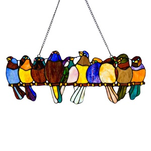 "9.25""H Tiffany Style Birds on a Wire Panel"