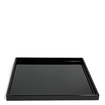 "LACQUERED BLACK TRAY 11.75"" SQ."