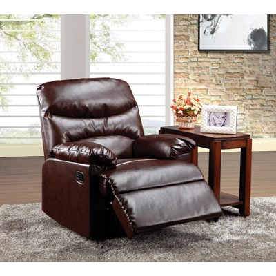 59016 CRACKED BROWN BONDED RECLINER