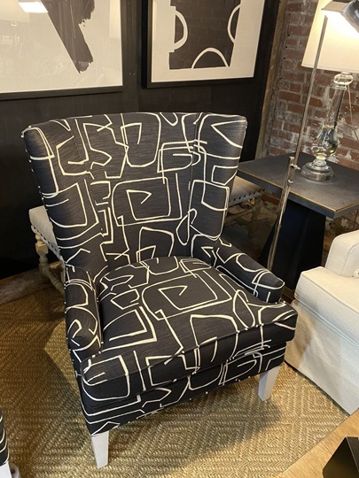 Century Black and Off White Abstract Club Chair