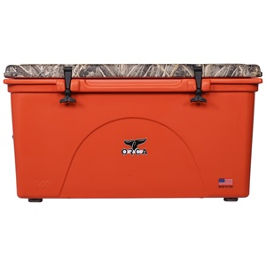 Realtree Max 5 Camo Lid Blaze Orange 140 Quart