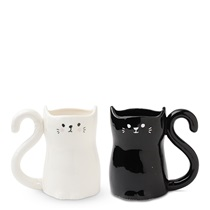 Black & White Cat Tail Mug Set
