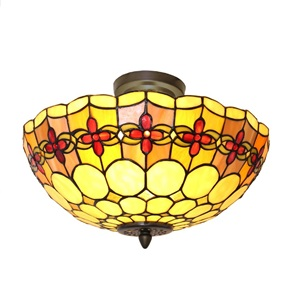 "15.5""W Stained Glass Red Rosettes Semi-Flush Mount Ceiling Lamp"