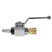 "MTM Hydro 3/8"" Plated Steel Ball Valve w/ QC's Installed"