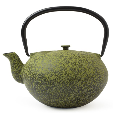 CAST IRON TEAPOT GREEN SPECKLED 40oz.