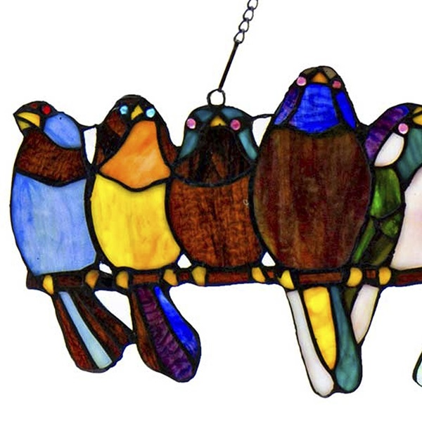 River Of Goods Unique Custom Home Decor Products Furnishings Wholesale 9 5 H Stained Glass Birds On A Wire Window Panel