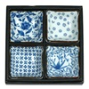 "BLUE & WHITE 3.25"" SQ. SAUCE DISH SET"
