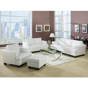 15096B WHITE BONDED LEATHER LOVESEAT