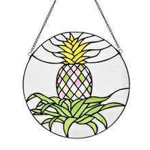"16""H Tiffany Style Blooming Pineapple Panel"