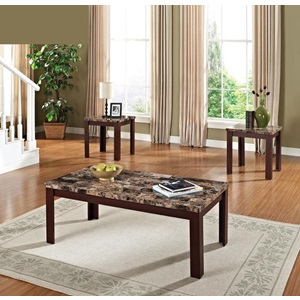 80319 3PC PK C/E TABLES W/BR FAUX M