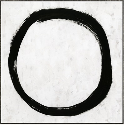 Large Black & White Circle Painting