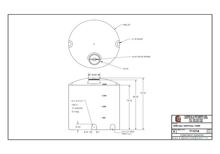 Specs for 2050 Gallon Vertical Liquid Storage Tank
