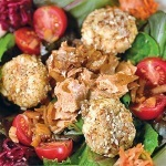 Wild Salmon Salad with Goat Cheese Medallions
