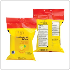 PH5B - Lemon Scented, Antibacterial Wipes (1,600/case)