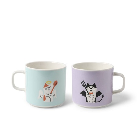 Mug Set Angel and Devil Cats
