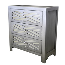 "28""H Lattice 3-Drawer Mirror Chest"