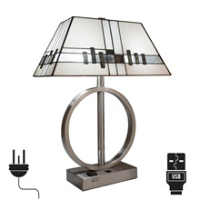 "23""H Laurant USB Stained Glass Table Lamp with Electrical Outlet"