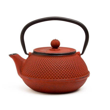 Red Hobnail Cast Iron Teapot - 30 Oz.