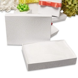 #21 2-5/8 X 1-5/8 X 7/8 WHITE EARRING JEWELRY BOX WITH COTTON, 100/CS