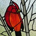 "18.5""H Northern Cardinal Songbird Stained Glass Window Panel"