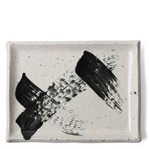 Black White Brush Rectangle Platter