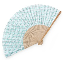Folding Fan Seigaiha Teal