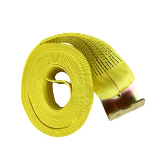 "4"" x 30' Truck Tie Down With Flat Hook, Yellow"
