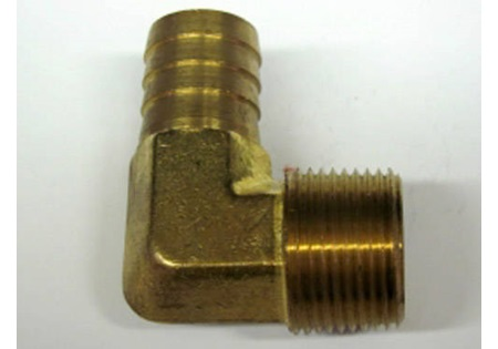 "Brass 3/4"" MPT x 3/4"" Hose Barb 90 Degree Swivel"