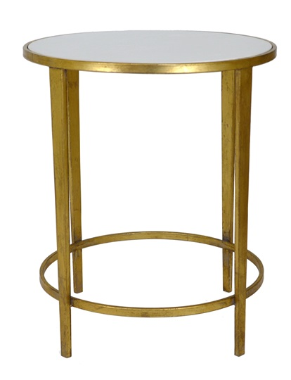 Handmade Antique Gold Leaf Table with a Stone Quartz Top