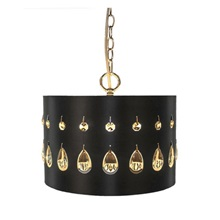 "11.25""H Crystal Glass Noir Tier-Drop Plug-in and Hardwire Hanging Pendant - Black"