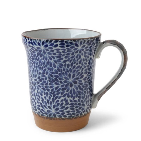 Blue Floral Mums 14 oz. Wide Mouth Mug