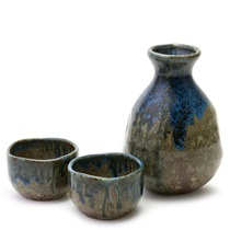 BROWN & BLUE GLAZE SAKE SET