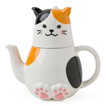Tea Set Calico Cat