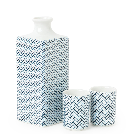 Sake Set Ajiro Blue And White