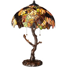 "24.5""H Stained Glass Marvel Maple Table Lamp with Tree Trunk Base"