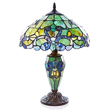 "20""H Tiffany Style Magna Carta Stained Glass Double Lit Table Lamp"
