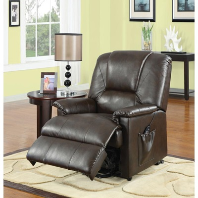 10652 BWN PU RECLINER W/LIFT&MASSAGE