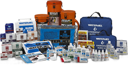 WATER-JEL product family, burn blankets, burn wraps, first-aid gels creams ointments, muscle-jel, unburn, burn-jel, eyewash, household burn kit, soft-sided burn-kit, hand sanitizer