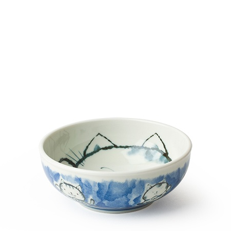 "Fortune Cat 5"" Bowl Blue"